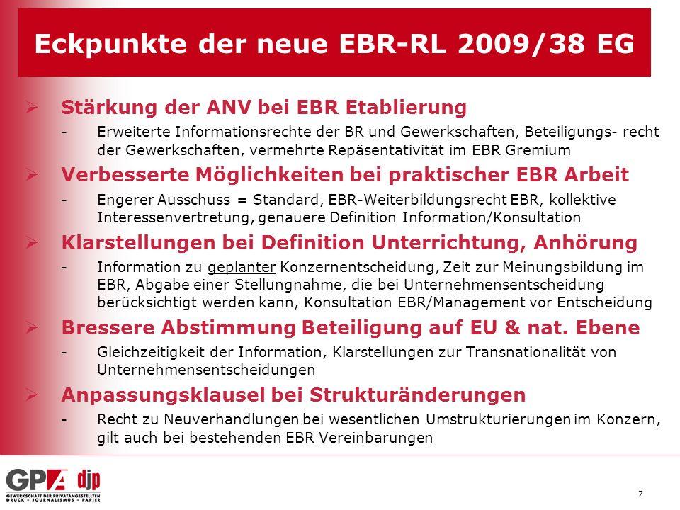 Eckpunkte der neue EBR-RL 2009/38 EG