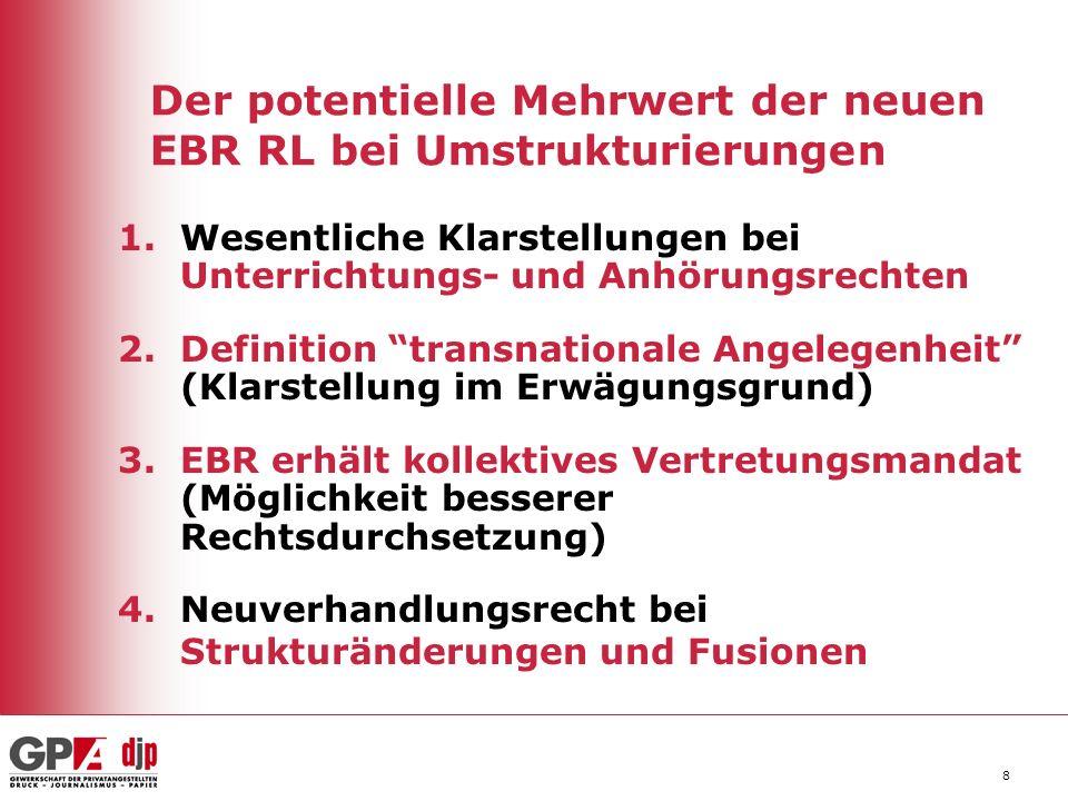 Der potentielle Mehrwert der neuen EBR RL bei Umstrukturierungen