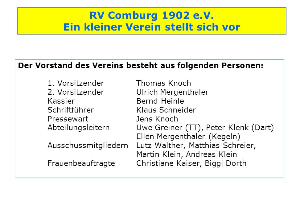 Der Vorstand des Vereins besteht aus folgenden Personen:. 1