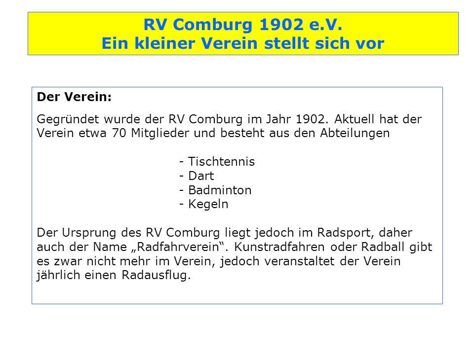 Der Verein: Gegründet wurde der RV Comburg im Jahr 1902