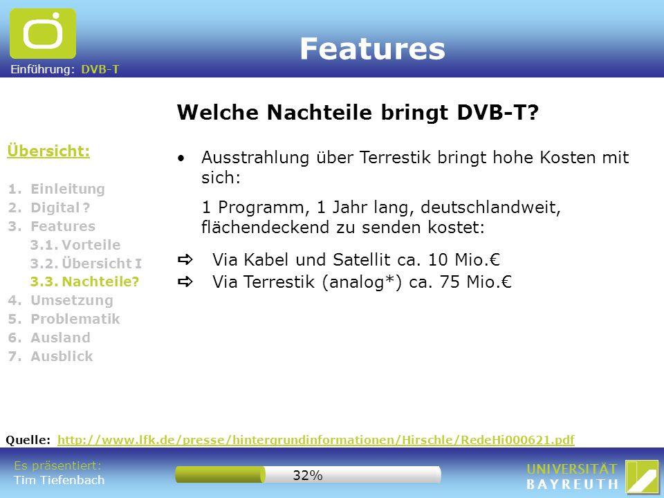 Features Welche Nachteile bringt DVB-T