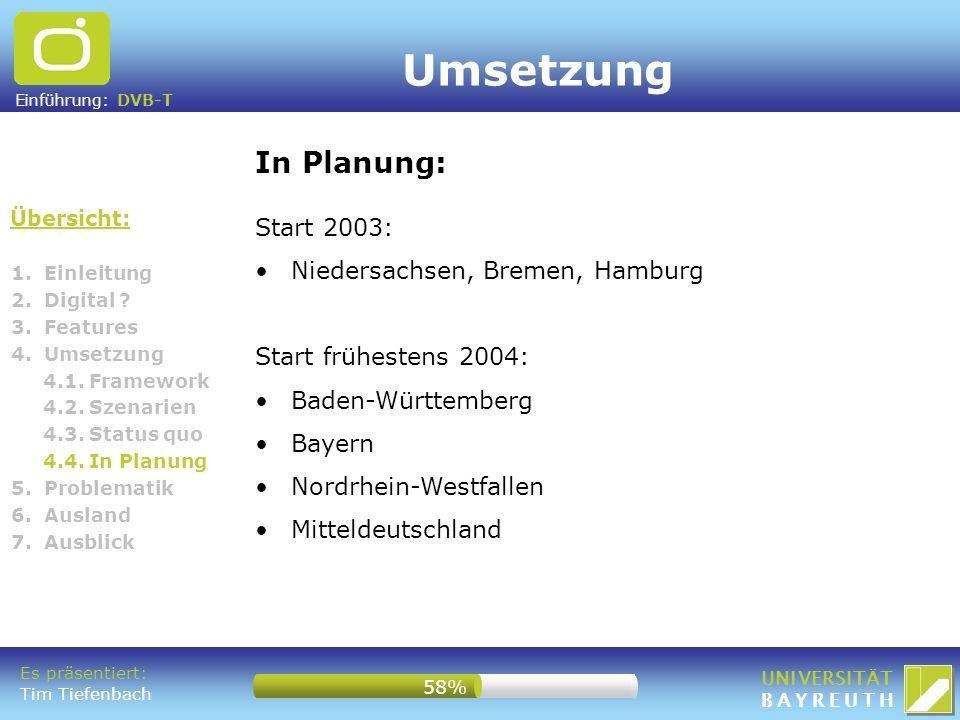 Umsetzung In Planung: Start 2003: Niedersachsen, Bremen, Hamburg