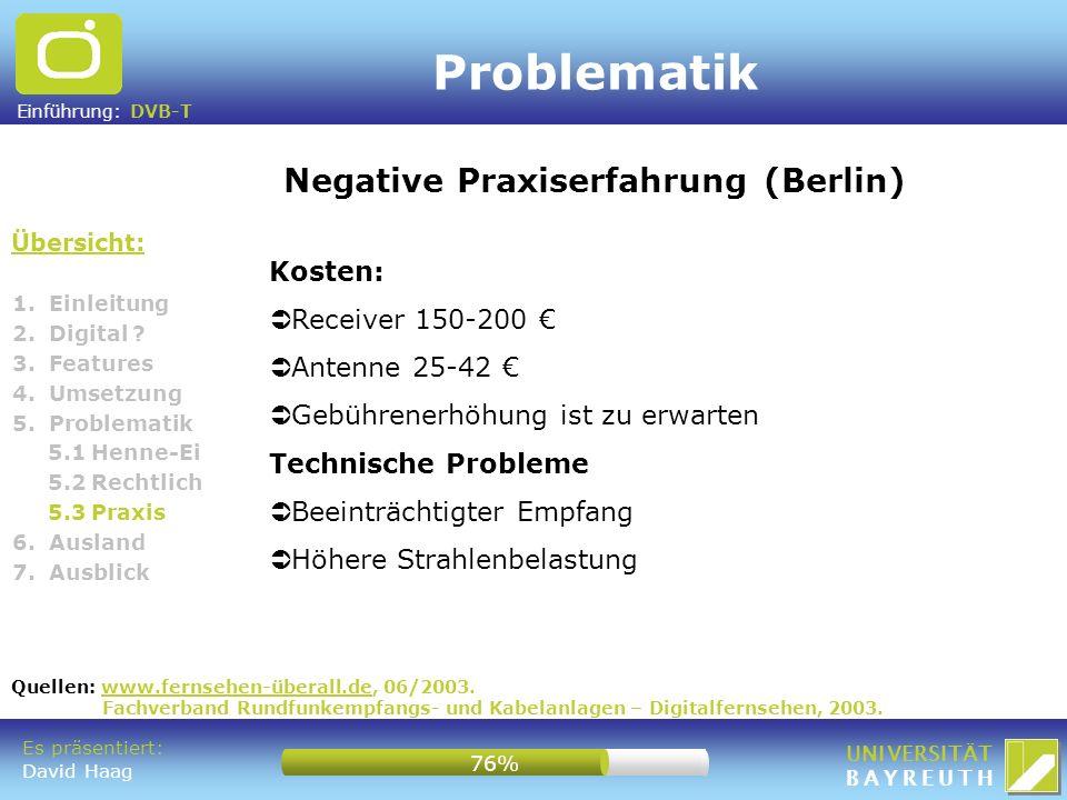 Problematik Negative Praxiserfahrung (Berlin) Kosten: