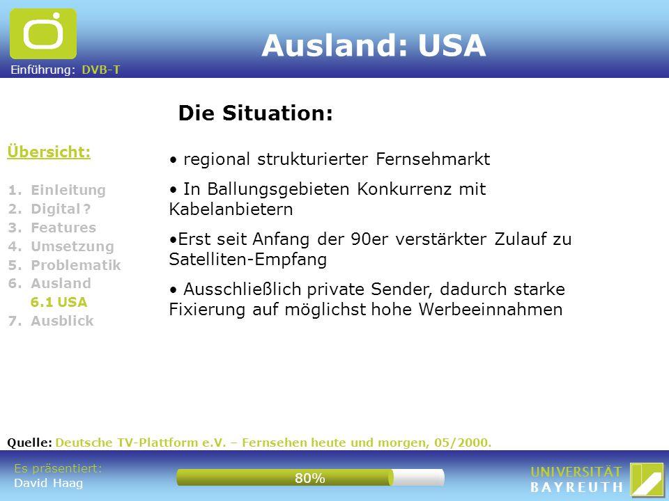 Ausland: USA Die Situation: regional strukturierter Fernsehmarkt