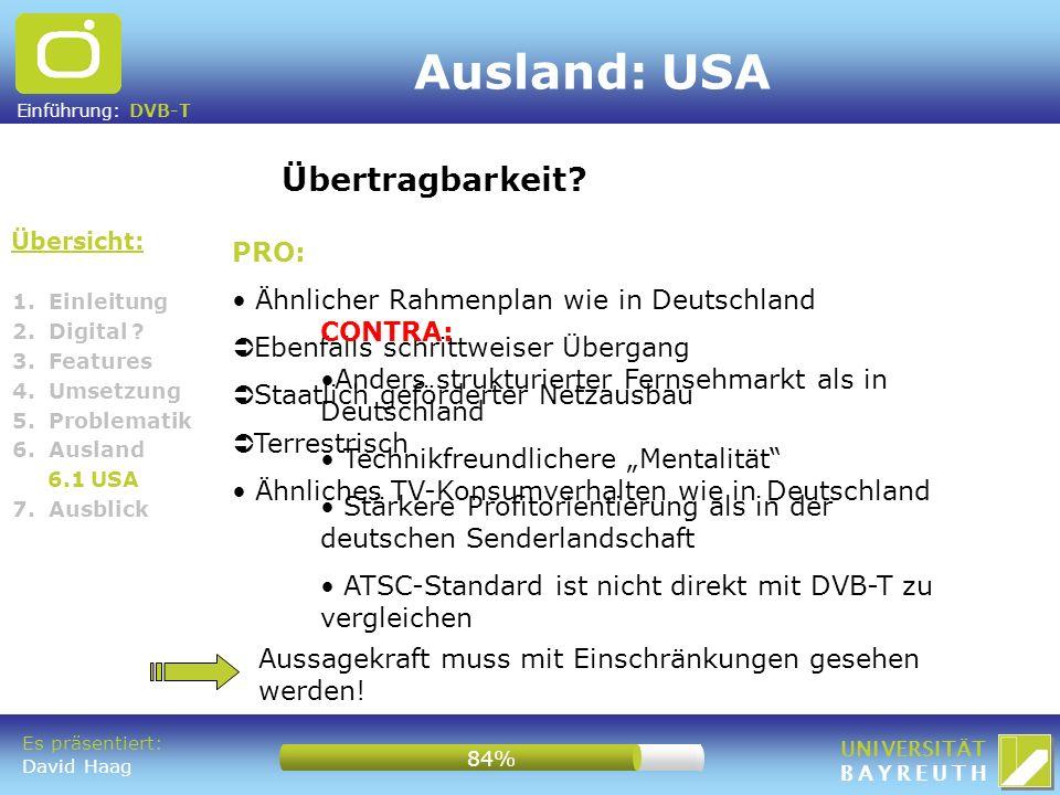 Ausland: USA Übertragbarkeit PRO: