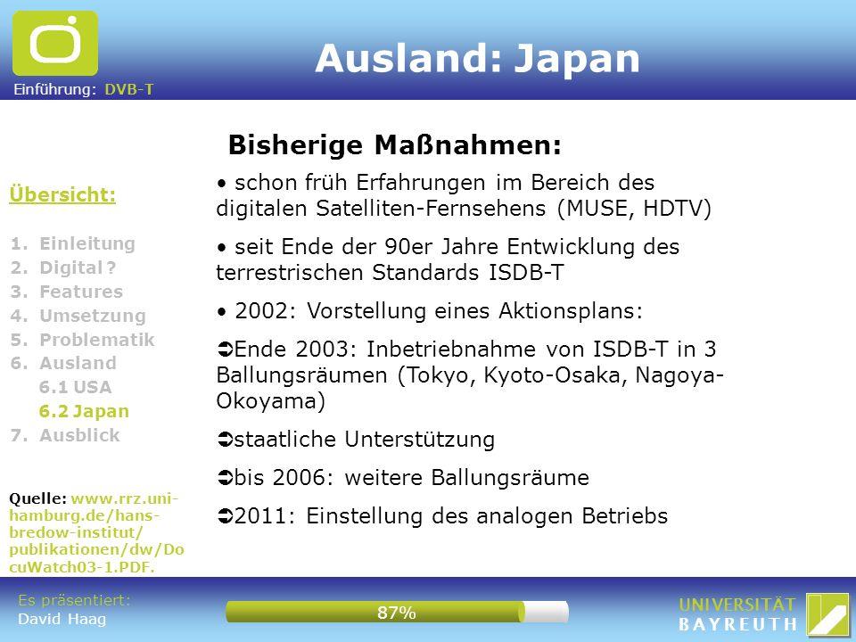 Ausland: Japan Bisherige Maßnahmen: