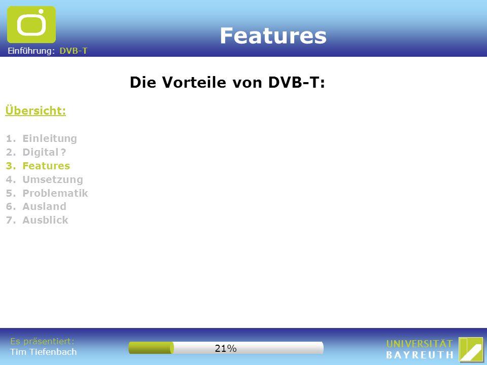 Features Die Vorteile von DVB-T: Übersicht: 1. Einleitung 2. Digital