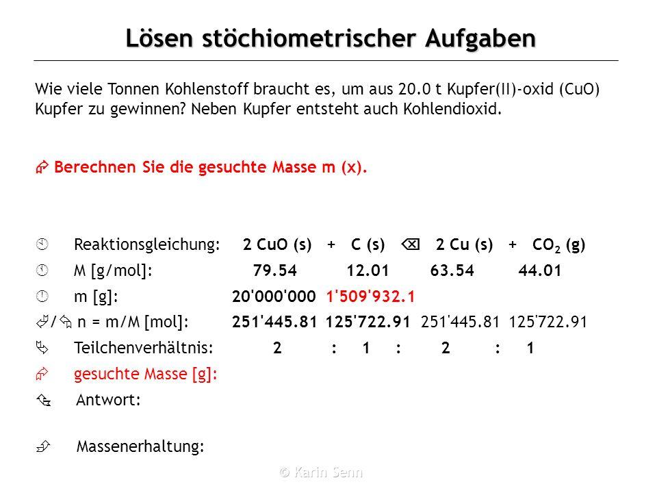 2 : 1 : 2 : 12 CuO (s) + C (s)  2 Cu (s) + CO2 (g)
