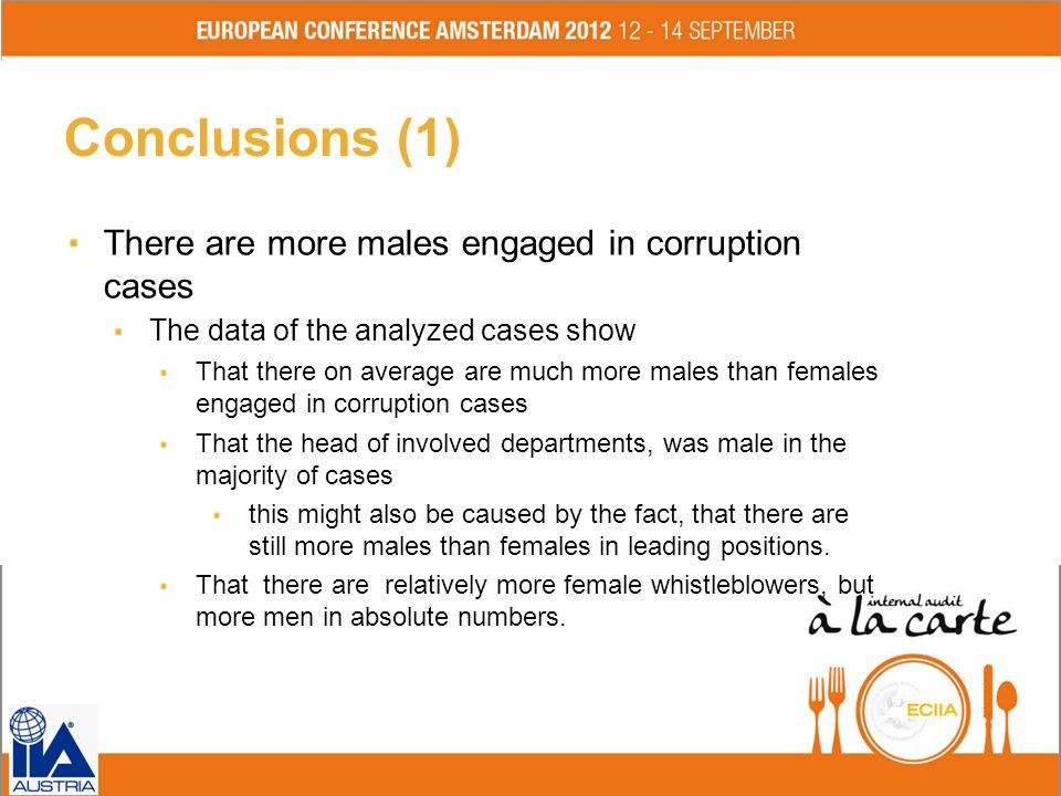 Conclusions (1) There are more males engaged in corruption cases