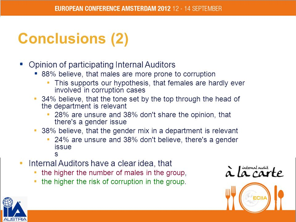 Conclusions (2) Opinion of participating Internal Auditors
