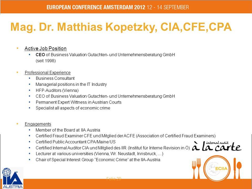 Mag. Dr. Matthias Kopetzky, CIA,CFE,CPA