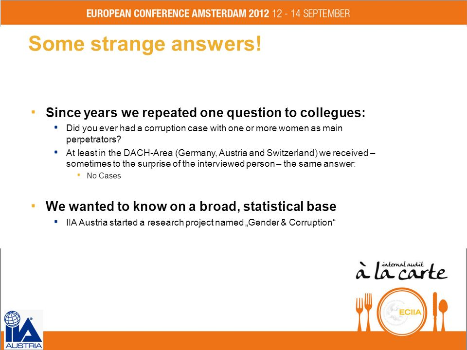 Some strange answers! Since years we repeated one question to collegues:
