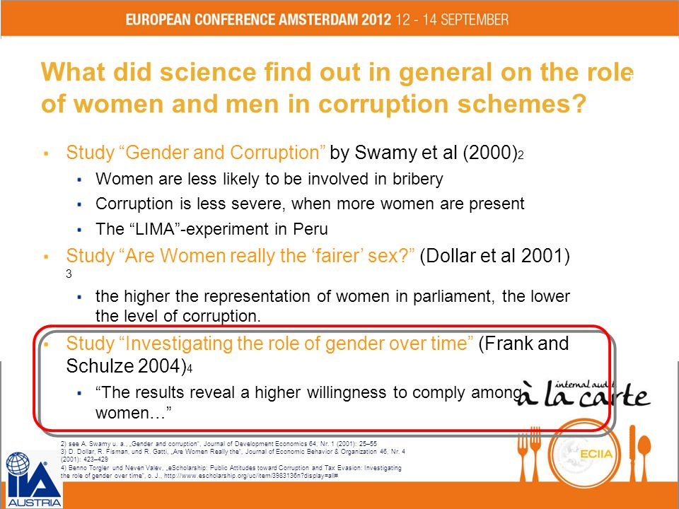 What did science find out in general on the role of women and men in corruption schemes