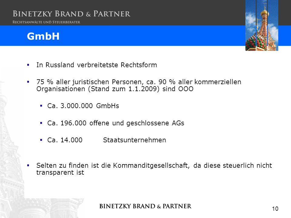 GmbH In Russland verbreitetste Rechtsform