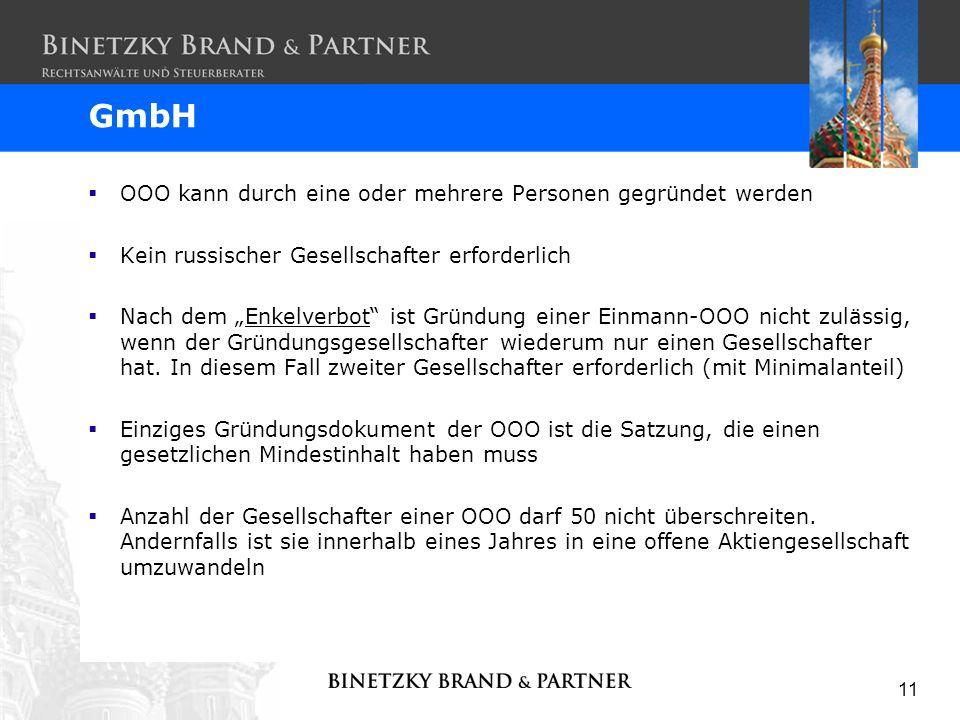 GmbH OOO kann durch eine oder mehrere Personen gegründet werden