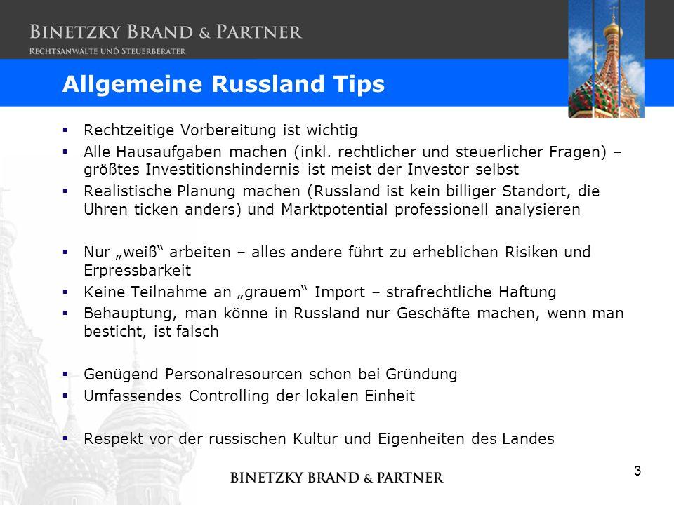 Allgemeine Russland Tips