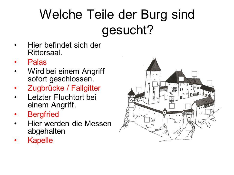 Welche Teile der Burg sind gesucht