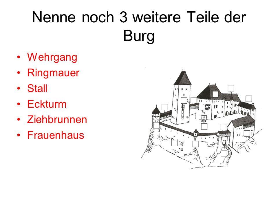 Nenne noch 3 weitere Teile der Burg