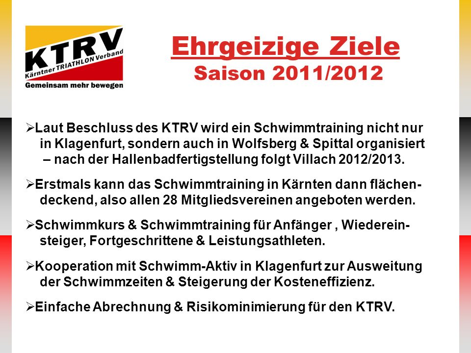 Ehrgeizige Ziele Saison 2011/2012