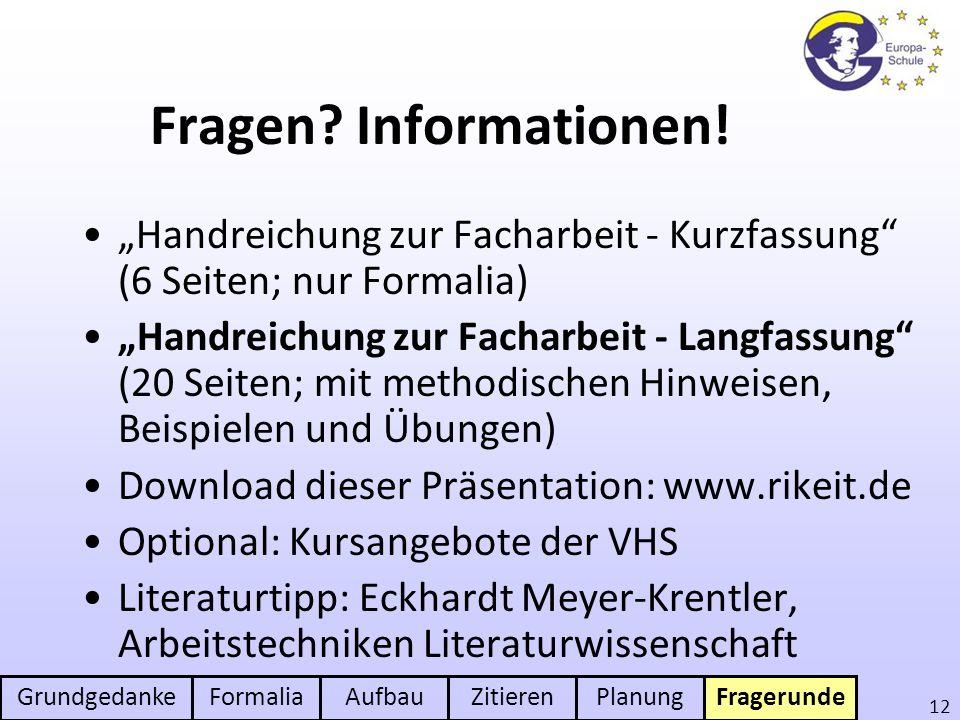 """Fragen Informationen! """"Handreichung zur Facharbeit - Kurzfassung (6 Seiten; nur Formalia)"""
