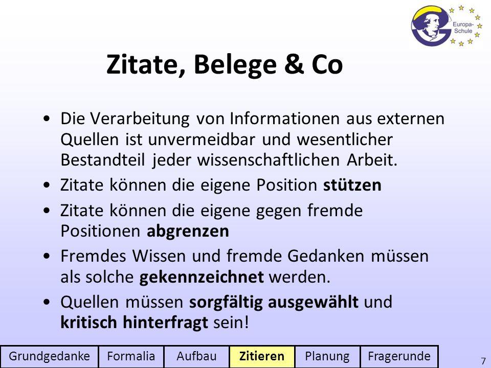 Zitate, Belege & Co