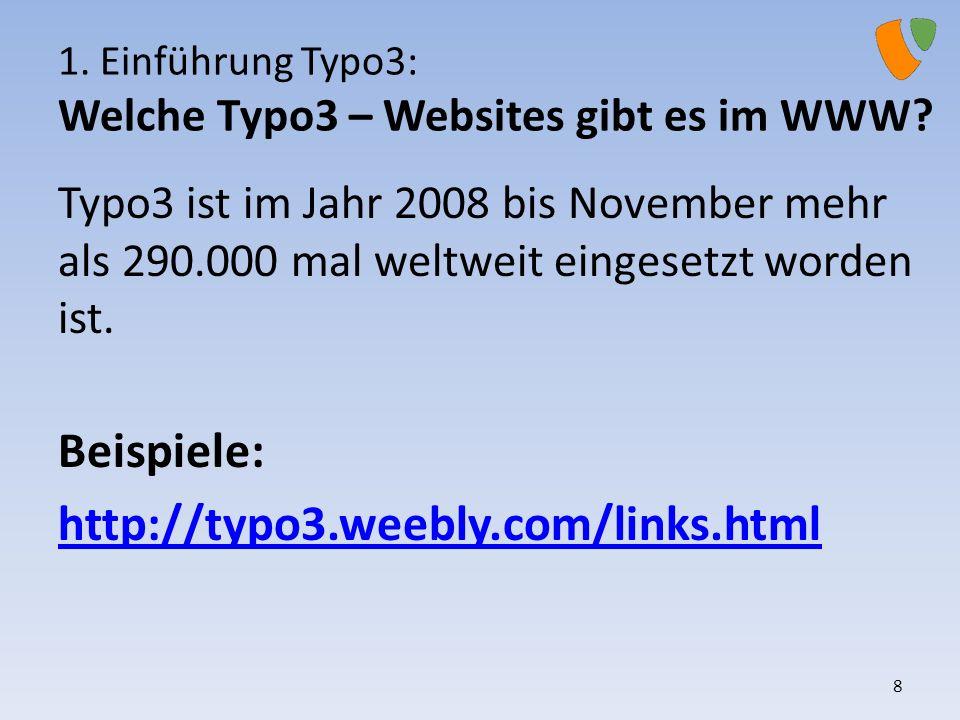1. Einführung Typo3: Welche Typo3 – Websites gibt es im WWW