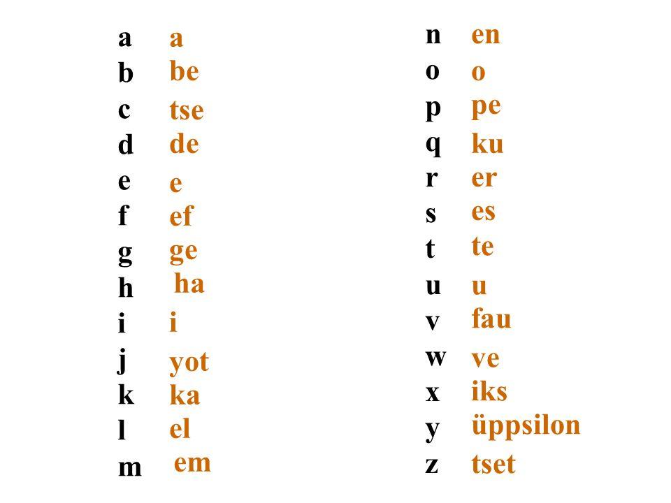 a b. c. d. e. f. g. h. i. j. k. l. m. be. tse. de. ef. ge. ha. yot. ka. el. em.
