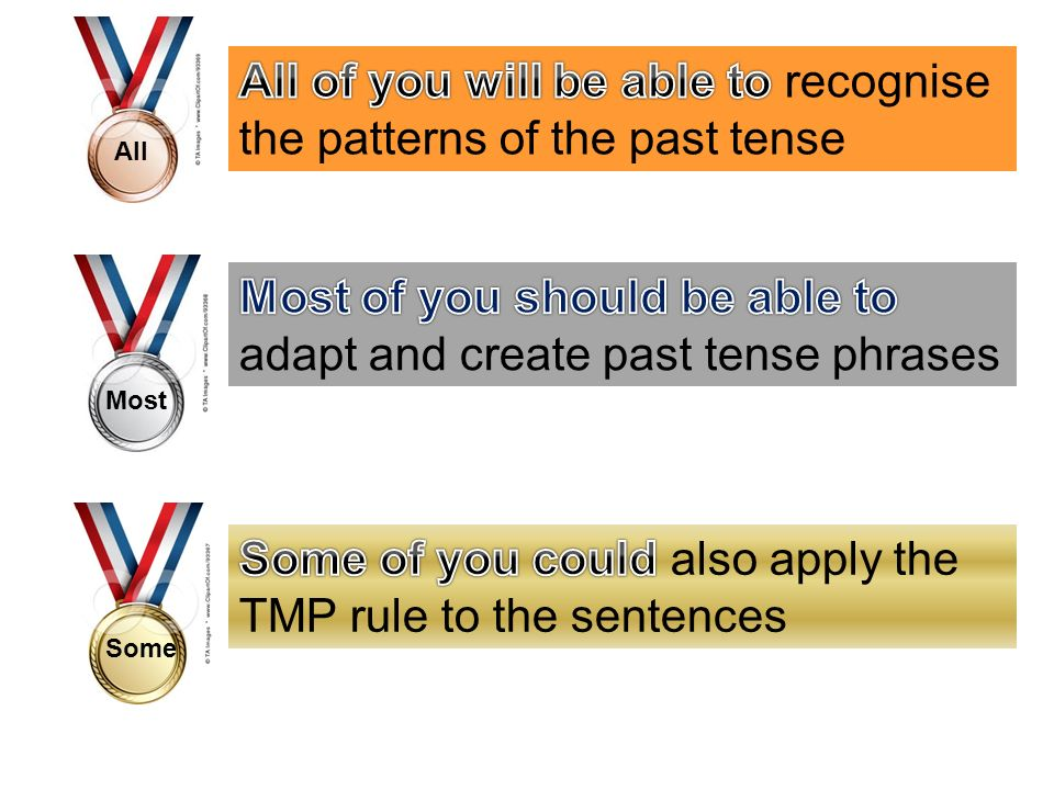 All of you will be able to recognise the patterns of the past tense