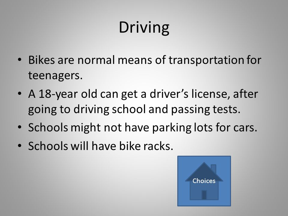 Driving Bikes are normal means of transportation for teenagers.
