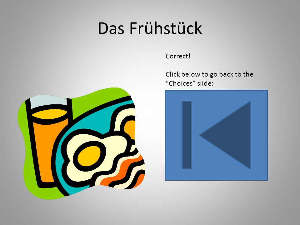 Das Frühstück Correct! Click below to go back to the Choices slide: