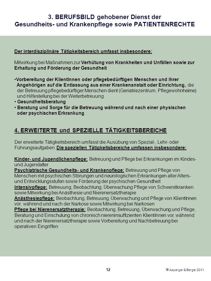 3. BERUFSBILD gehobener Dienst der Gesundheits- und Krankenpflege sowie PATIENTENRECHTE