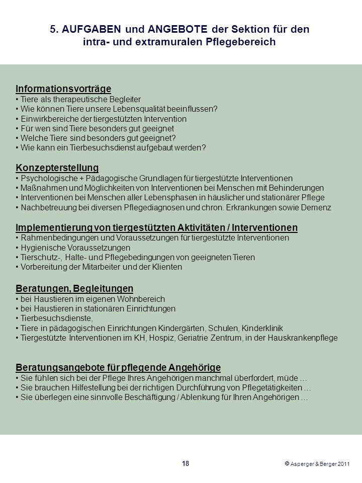 5. AUFGABEN und ANGEBOTE der Sektion für den intra- und extramuralen Pflegebereich