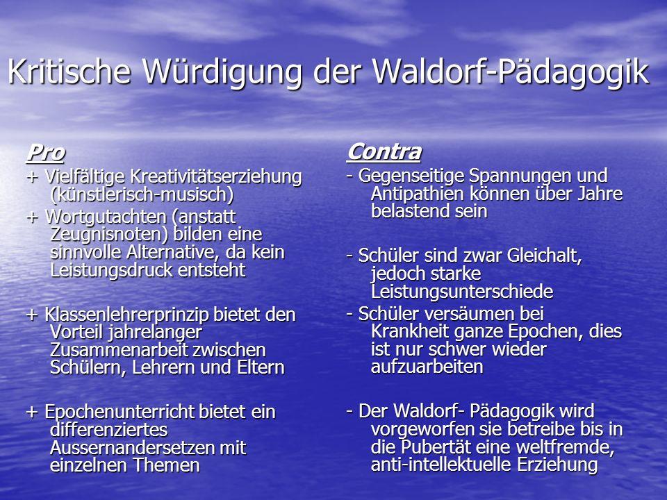 Kritische Würdigung der Waldorf-Pädagogik
