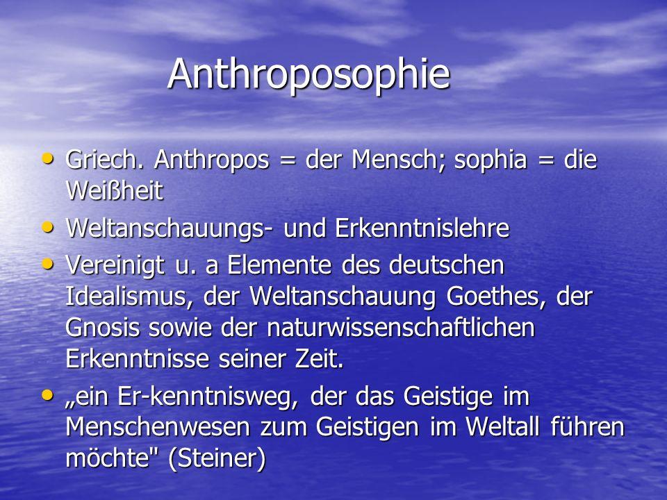 Anthroposophie Griech. Anthropos = der Mensch; sophia = die Weißheit