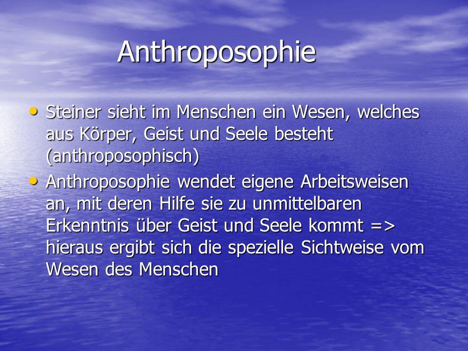 Anthroposophie Steiner sieht im Menschen ein Wesen, welches aus Körper, Geist und Seele besteht (anthroposophisch)