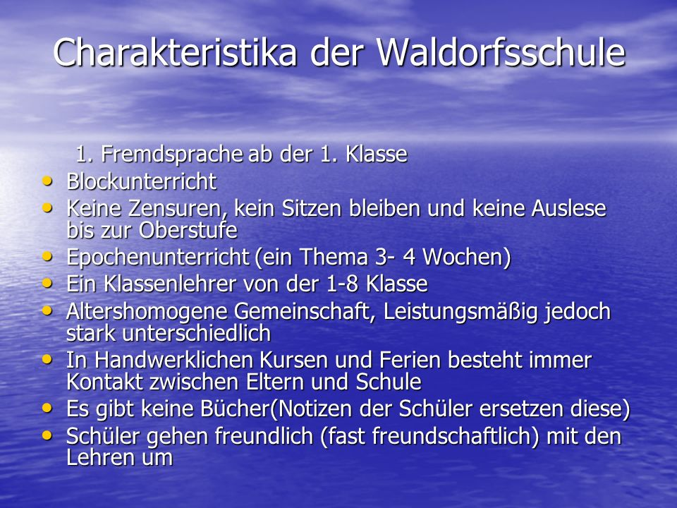 Charakteristika der Waldorfsschule