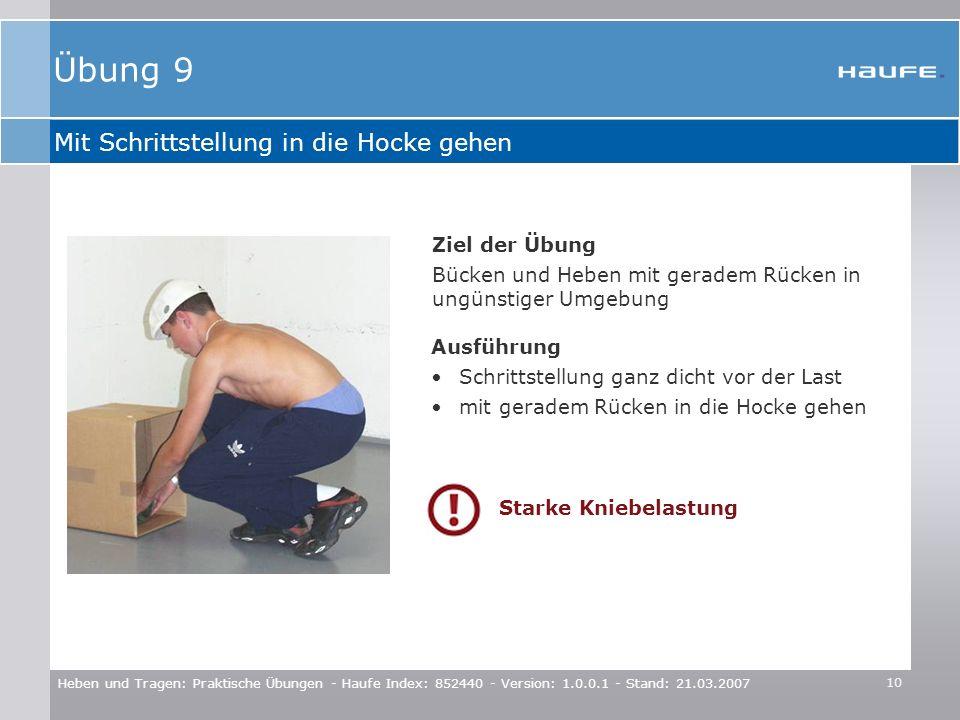 Übung 9 Mit Schrittstellung in die Hocke gehen Ziel der Übung