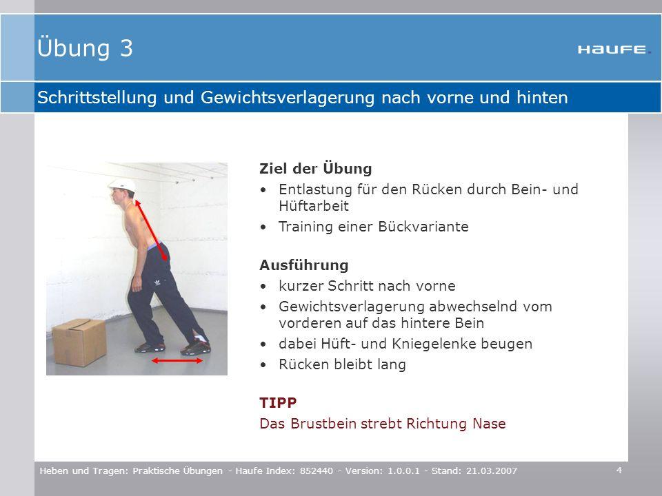 Übung 3 Schrittstellung und Gewichtsverlagerung nach vorne und hinten