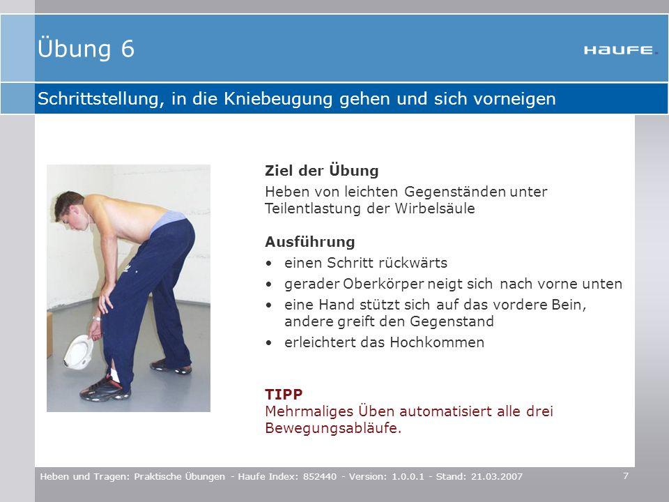 Übung 6 Schrittstellung, in die Kniebeugung gehen und sich vorneigen