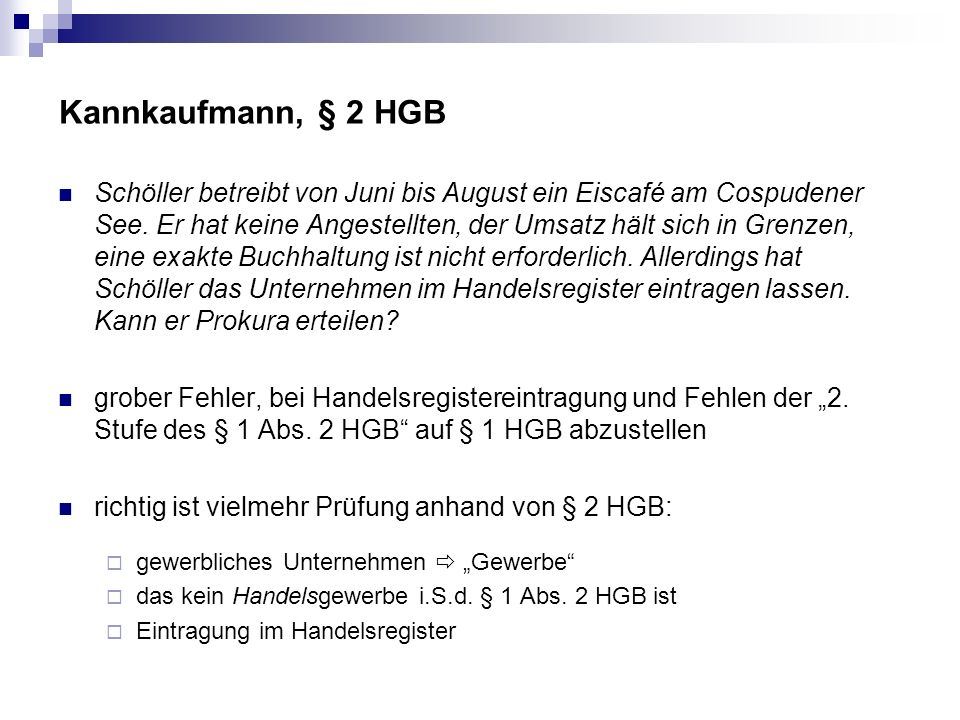 Kannkaufmann, § 2 HGB