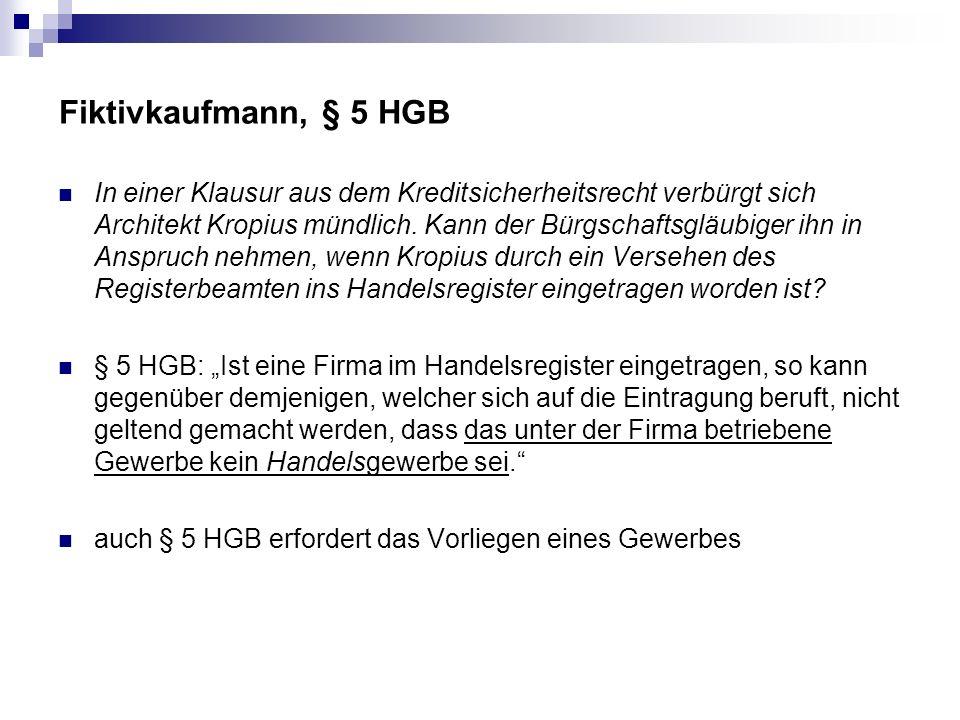 Fiktivkaufmann, § 5 HGB