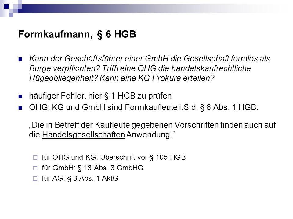 Formkaufmann, § 6 HGB