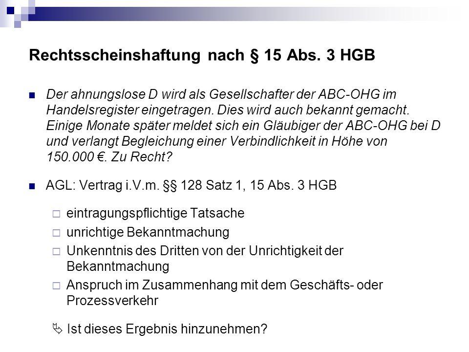 Rechtsscheinshaftung nach § 15 Abs. 3 HGB