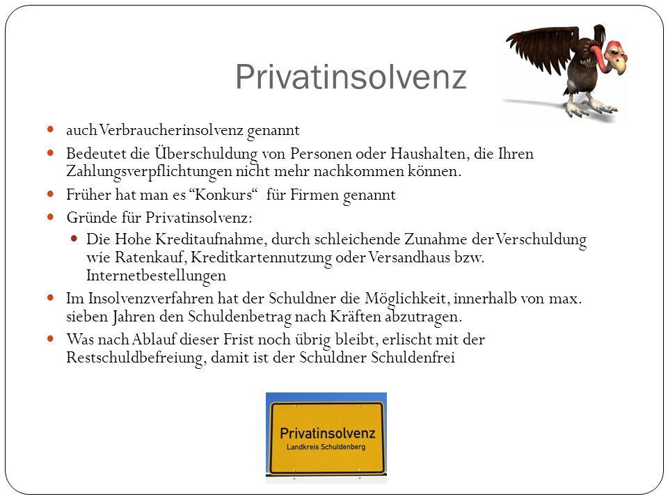 Privatinsolvenz auch Verbraucherinsolvenz genannt