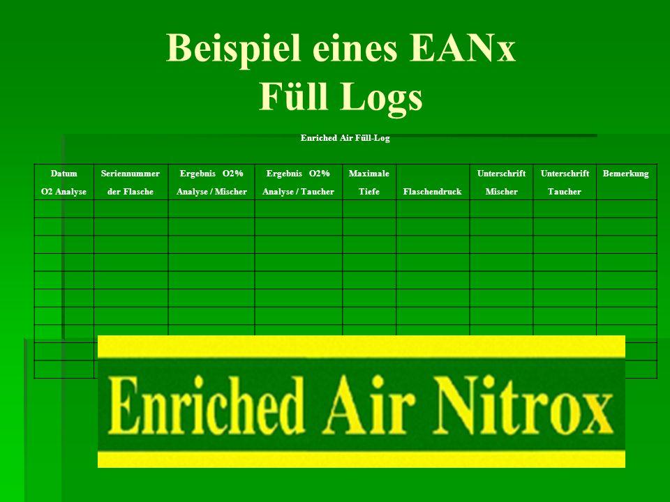 Beispiel eines EANx Füll Logs