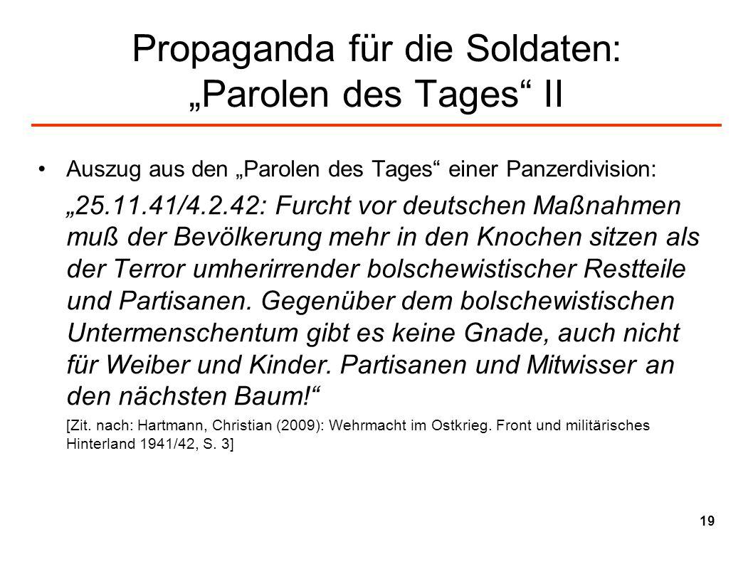 """Propaganda für die Soldaten: """"Parolen des Tages II"""