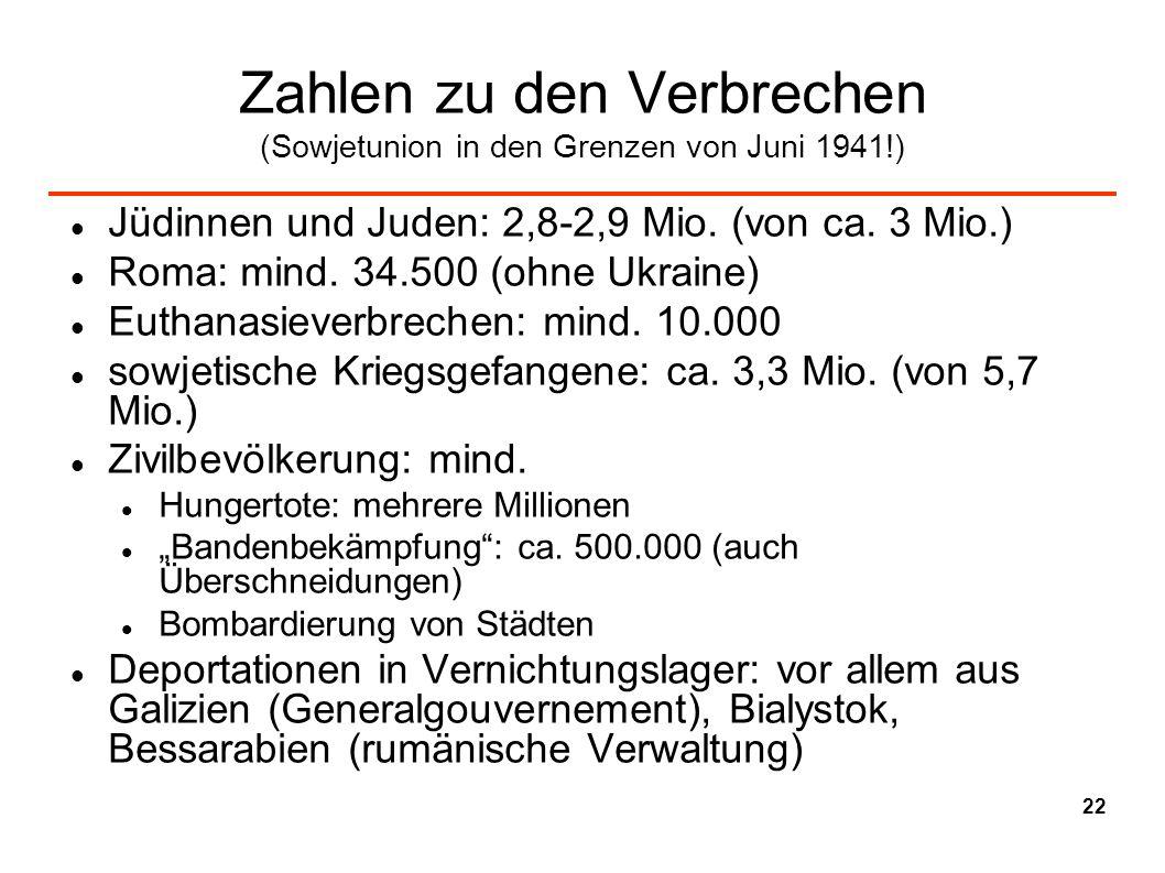 Zahlen zu den Verbrechen (Sowjetunion in den Grenzen von Juni 1941!)