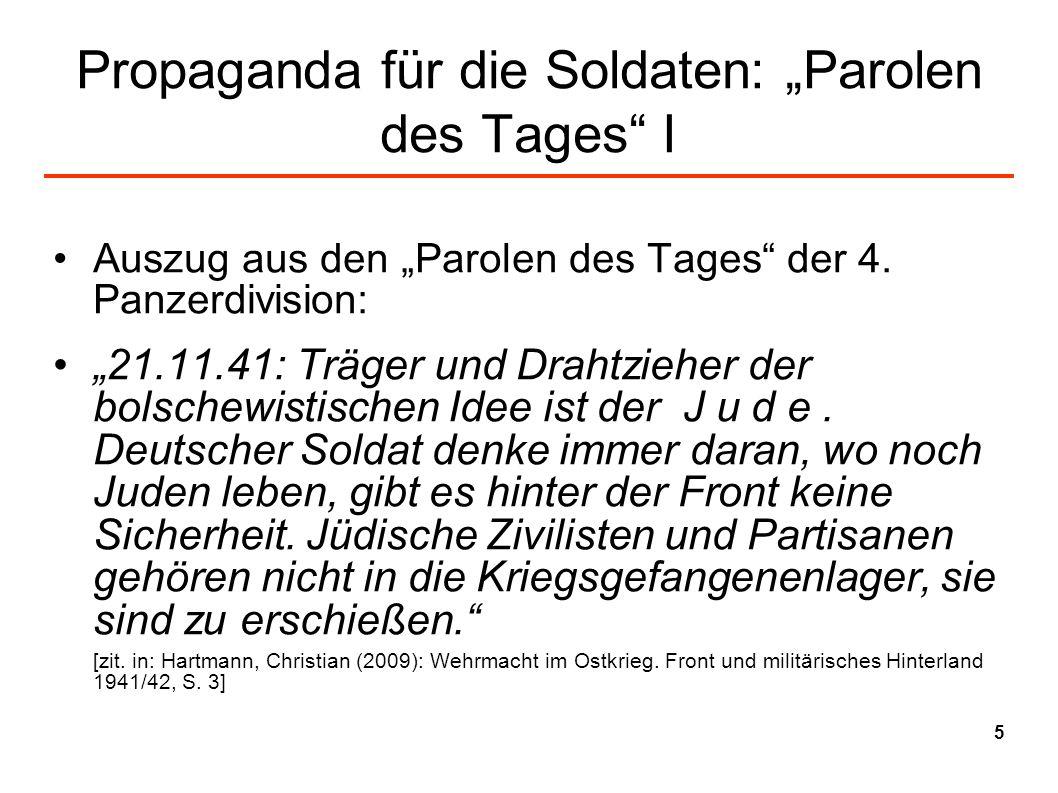 """Propaganda für die Soldaten: """"Parolen des Tages I"""