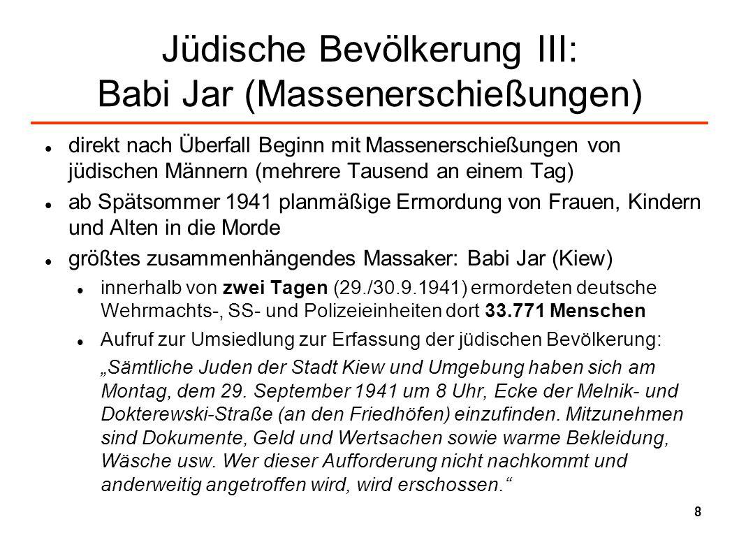 Jüdische Bevölkerung III: Babi Jar (Massenerschießungen)