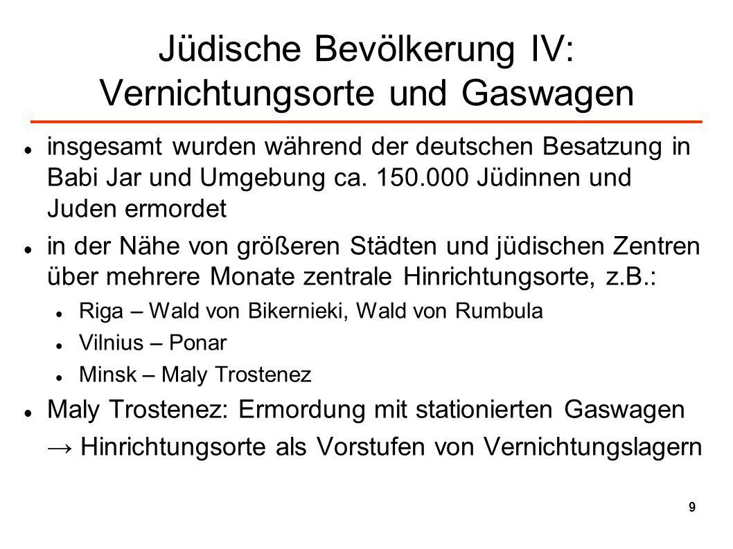 Jüdische Bevölkerung IV: Vernichtungsorte und Gaswagen